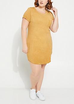 Plus Mustard Washed T Shirt Dress