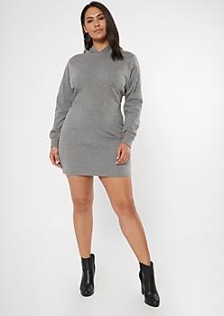 Plus Heather Gray Corset Hoodie Dress