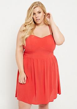 Plus Red Built In Bra Swing Dress