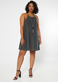 Plus Black Metallic High Neck Swing Dress