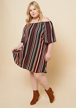 Plus Black Vertical Stripe Off The Shoulder Bell Sleeve Dress