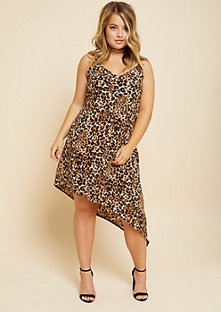Plus Leopard Print V Neck Asymmetrical Slip Dress