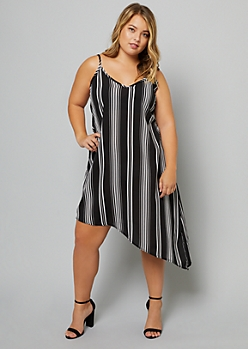 Plus Black Striped V Neck Asymmetrical Slip Dress