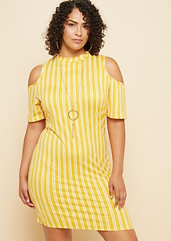 Plus Yellow Striped Cold Shoulder High Neck Dress