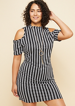 Plus Black Striped Cold Shoulder High Neck Dress