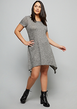 Gray Striped Hacci Shark Bite Mini Dress