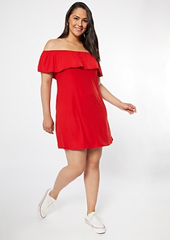 Plus Red Off The Shoulder Super Soft Dress