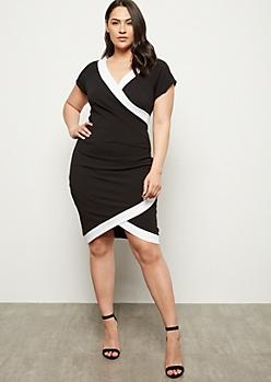 Plus Black Wrap Front Side Striped Dress