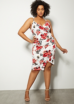 Plus Ivory Floral Print Ruched Asymmetrical Dress