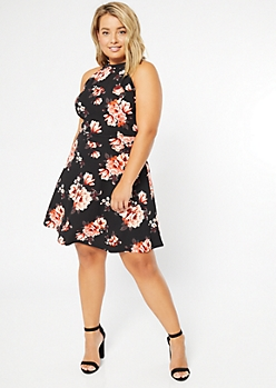 Plus Black Floral Print High Neck Skater Dress