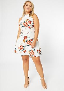 Plus White Floral Print High Neck Skater Dress