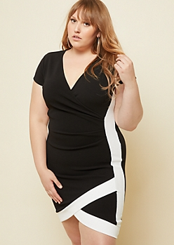 Plus Black Contrast Stripe Ruched Mini Dress