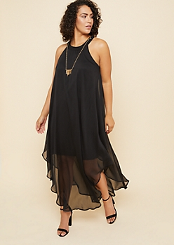 Plus Black High Neck Chiffon Overlay Maxi Dress