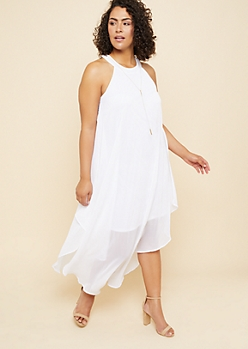 Plus White High Neck Chiffon Overlay Maxi Dress