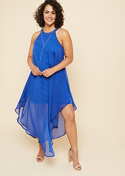 Plus Blue High Neck Chiffon Overlay Maxi Dress