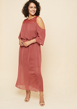 Plus Burgundy Cold Shoulder Crochet Maxi Dress