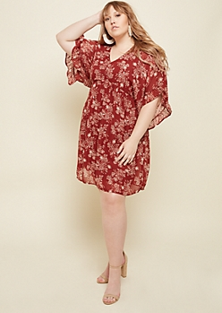 Plus Burgundy Floral Print V Neck Dress