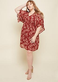 Plus Burgundy Floral Print V Neck Dress
