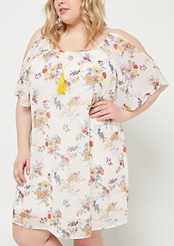 Plus Ivory Floral Cold Shoulder Dress & Necklace Set