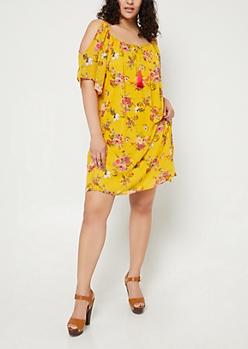 Plus Dark Yellow Floral Cold Shoulder Dress & Necklace Set