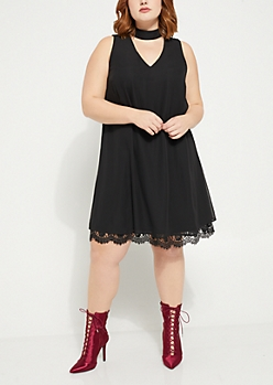 Plus Black Choker Lace Trim Swing Dress
