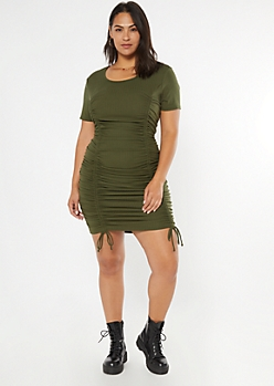 Plus Olive Ribbed Ruched Drawstring Bodycon Dress