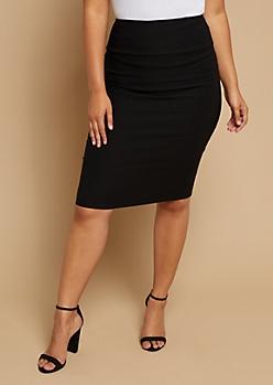 Plus Black Stretch Pencil Skirt