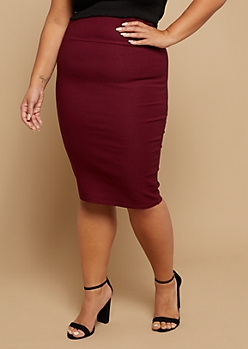 Plus Ruby Red Stretch Pencil Skirt