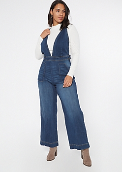 Plus Deep V Neck Wide Leg Denim Jumpsuit