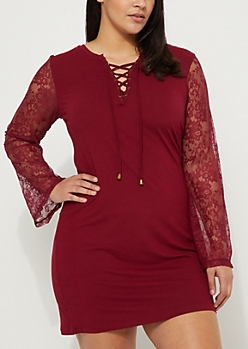 Plus Burgundy Lace Up Lace Sleeve Dress