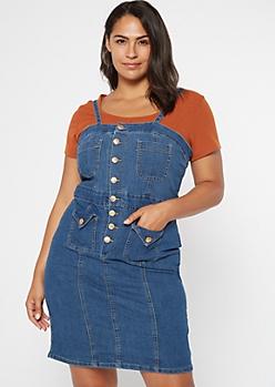 Plus Dark Wash Buttoned Pocket Denim Mini Dress