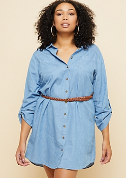 Plus Chambray Belted Shirt Dress