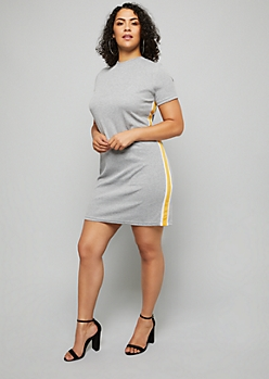 Plus Heather Gray Side Striped Ribbed Knit Dress