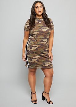 Plus Camo Print Side Stripe Ribbed Knit Dress