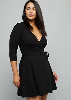 Plus Black Tie Front Hacci Wrap Dress