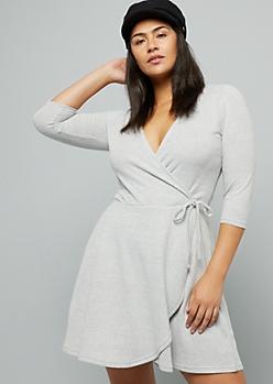 Plus Gray Tie Front Hacci Wrap Dress