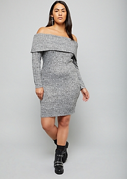 Plus Heather Gray Off The Shoulder Hacci Dress