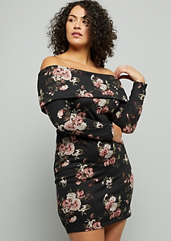 Plus Black Floral Print Off The Shoulder Hacci Dress