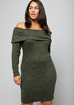 Plus Olive Green Off The Shoulder Hacci Dress