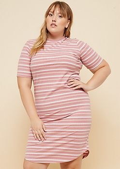 Plus Pink Striped Pattern Ribbed Knit T Shirt Dress
