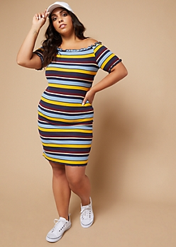 Plus Blue Striped Lettuce Edge Off The Shoulder Dress