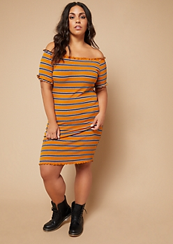 Plus Camel Striped Lettuce Edge Off The Shoulder Dress