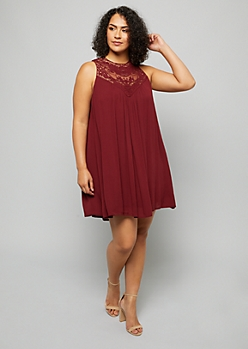 Plus Burgundy Crocheted High Neck Swing Dress