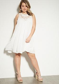 2ad23fa53195 Plus White Crochet High Neck Pointelle Dress