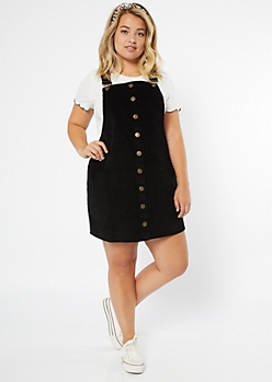 Plus Black Corduroy Buttoned Overall Dress