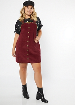 Plus Burgundy Corduroy Buttoned Overall Dress