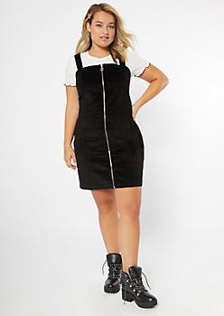 Plus Black Corduroy Square Neck Dress