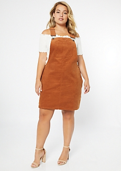 Plus Burnt Orange Corduroy Pocket Overall Dress
