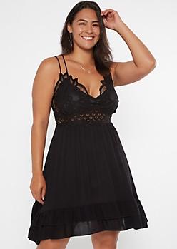 Plus Black Crochet Ruffle Dress