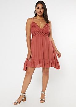 Plus Burgundy Crochet Ruffle Dress